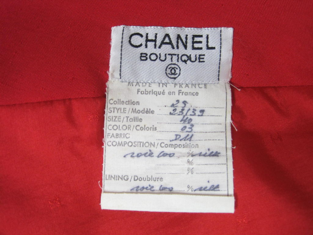 Chanel Boutique Red Silk Dress For Sale 6