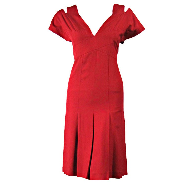 Chanel Boutique Red Silk Dress For Sale