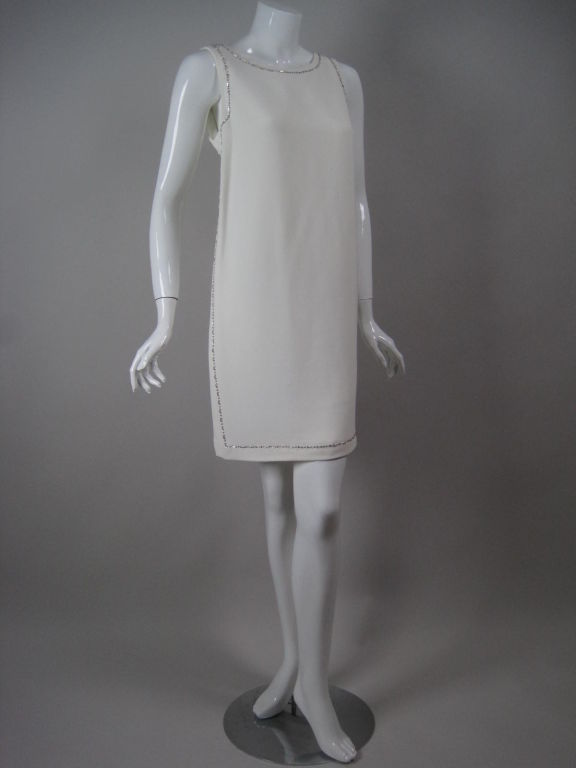 Gray Versace Shift Dress with Beaded Trim For Sale