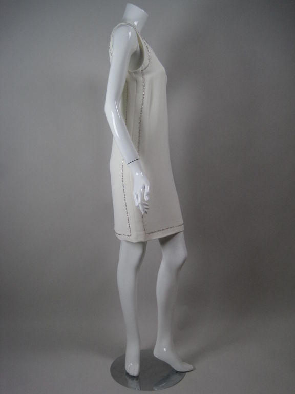 Versace Shift Dress with Beaded Trim In Excellent Condition For Sale In Los Angeles, CA