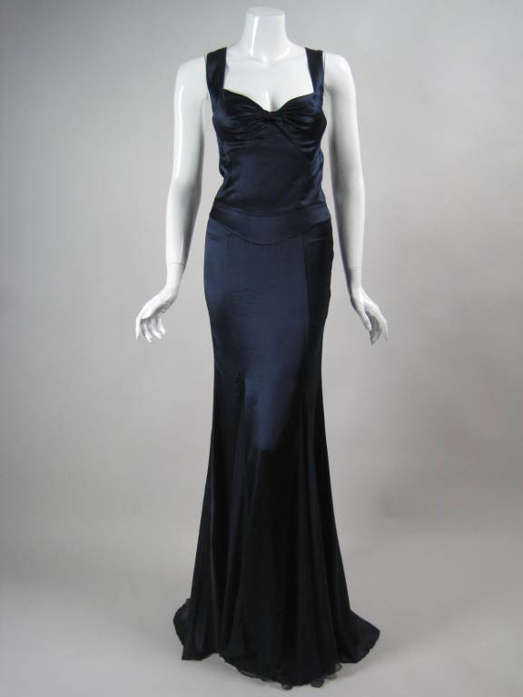 Versace Midnight Blue Silk Gown with Godet Inserts in Skirt 2