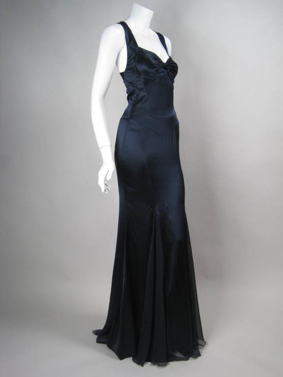 Versace Midnight Blue Silk Gown with Godet Inserts in Skirt 3