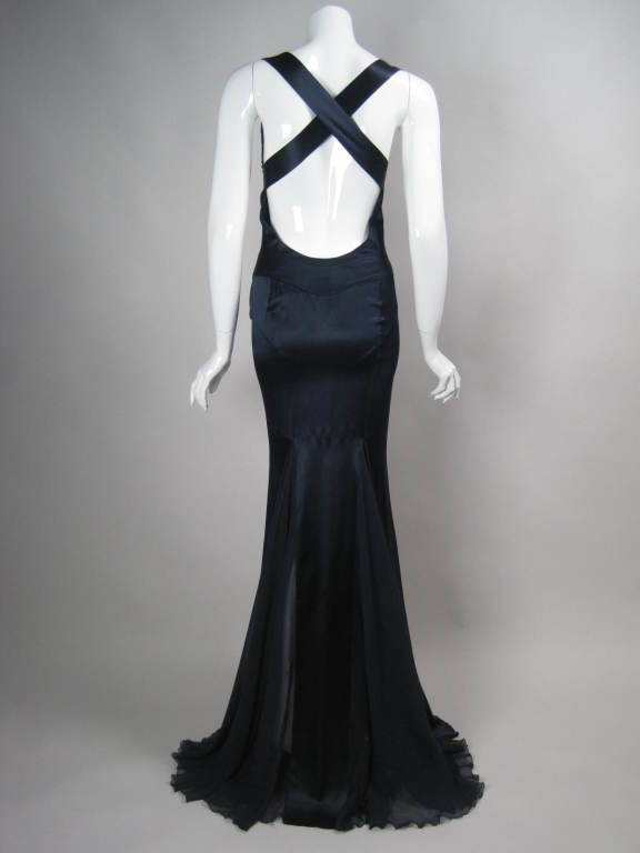 Versace Midnight Blue Silk Gown with Godet Inserts in Skirt 4