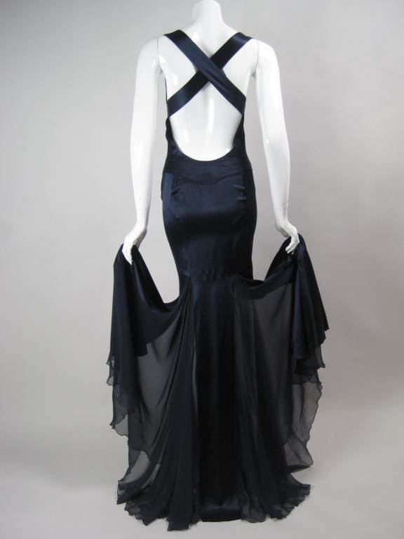 Versace Midnight Blue Silk Gown with Godet Inserts in Skirt 8
