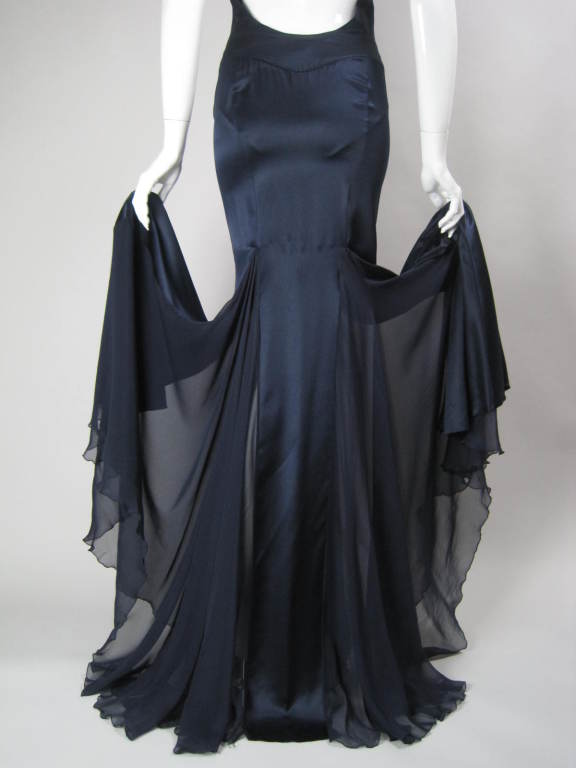 Versace Midnight Blue Silk Gown with Godet Inserts in Skirt 9