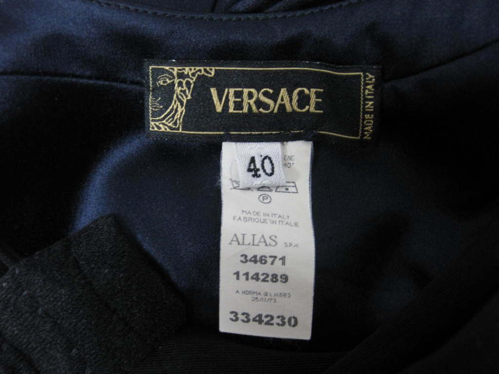 Versace Midnight Blue Silk Gown with Godet Inserts in Skirt 10