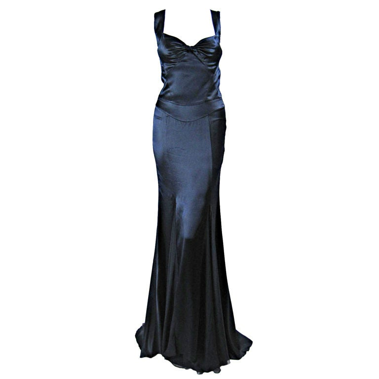 Versace Midnight Blue Silk Gown with Godet Inserts in Skirt 1