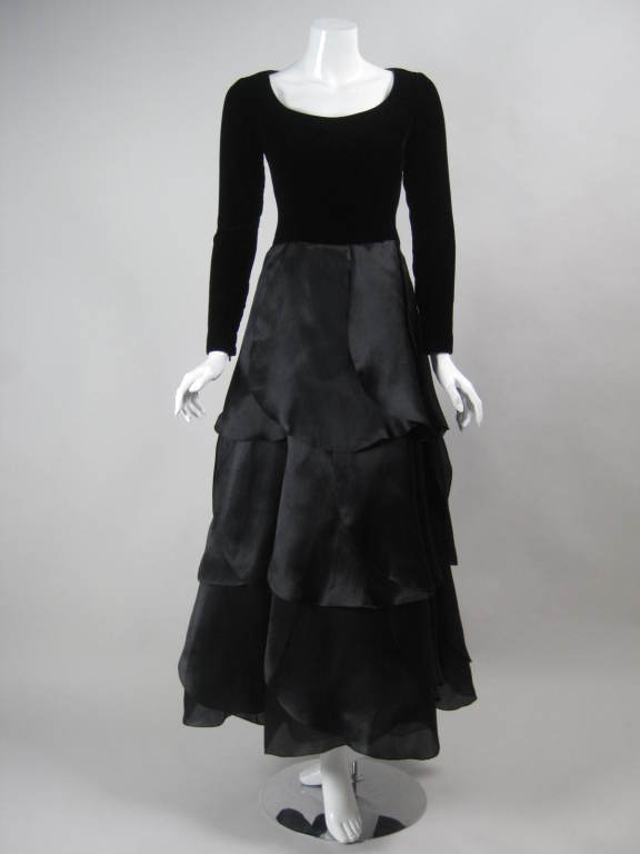 Black 1980's Carolina Herrera Gown with Flower Petal Skirt For Sale