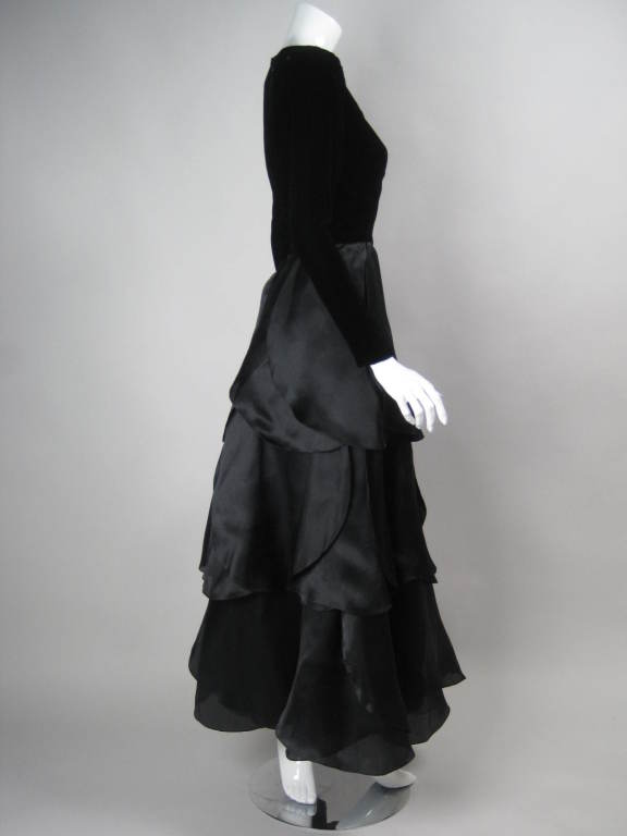 1980's Carolina Herrera Gown with Flower Petal Skirt In Excellent Condition For Sale In Los Angeles, CA