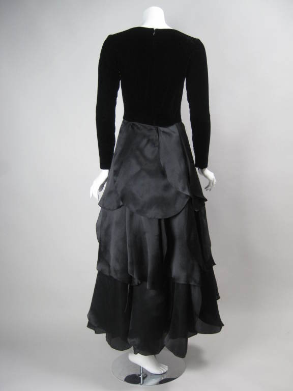 Women's 1980's Carolina Herrera Gown with Flower Petal Skirt For Sale