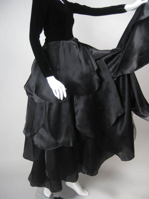 1980's Carolina Herrera Gown with Flower Petal Skirt For Sale 4