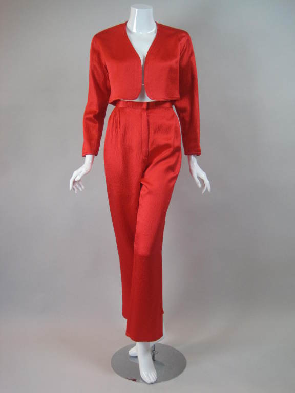 1980s Geoffrey Beene Hammered Silk Ensemble 2