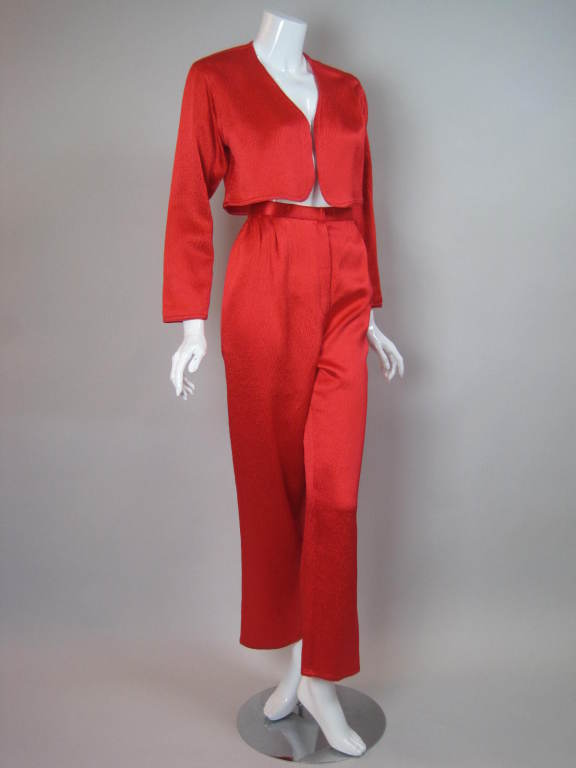 1980s Geoffrey Beene Hammered Silk Ensemble 3