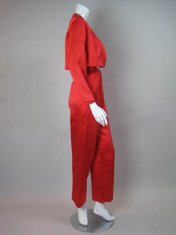 1980s Geoffrey Beene Hammered Silk Ensemble 4