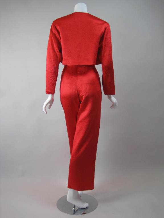 1980s Geoffrey Beene Hammered Silk Ensemble 5