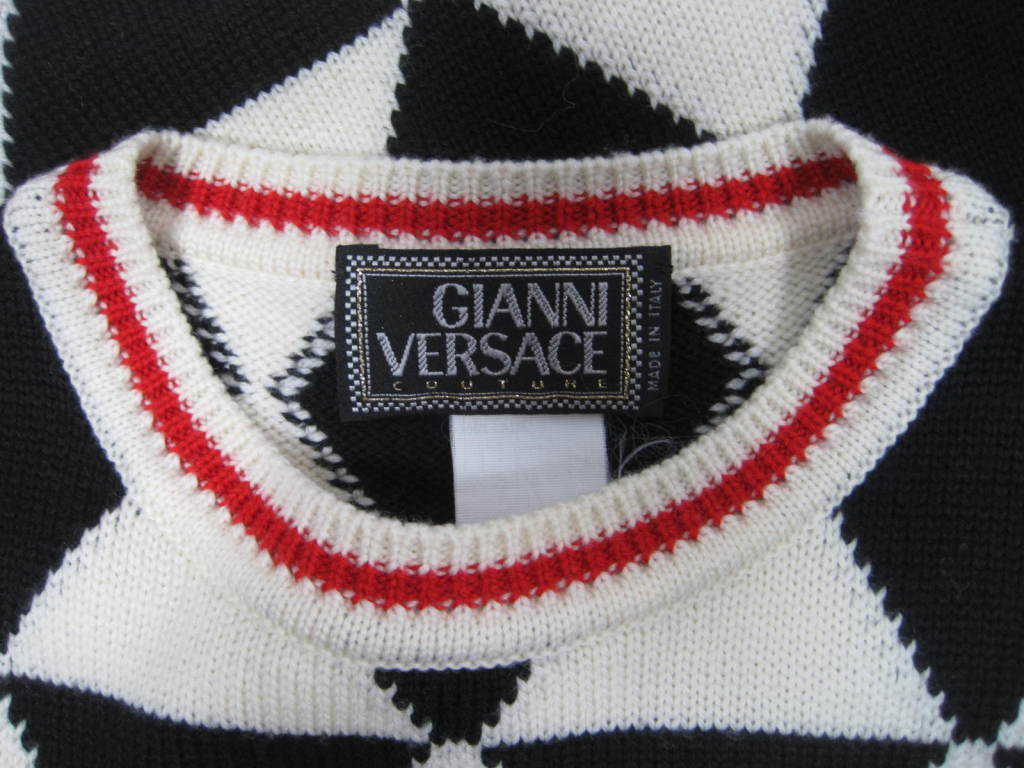 Versace Black and White Sweater Vest 5
