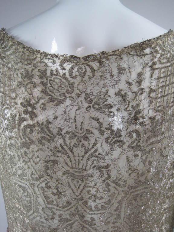 1920's Beaded Velvet & Metallic Lace Dress 10