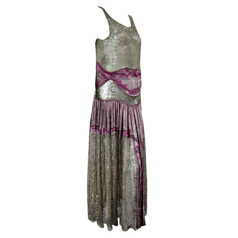 1920's Beaded Velvet & Metallic Lace Dress 1