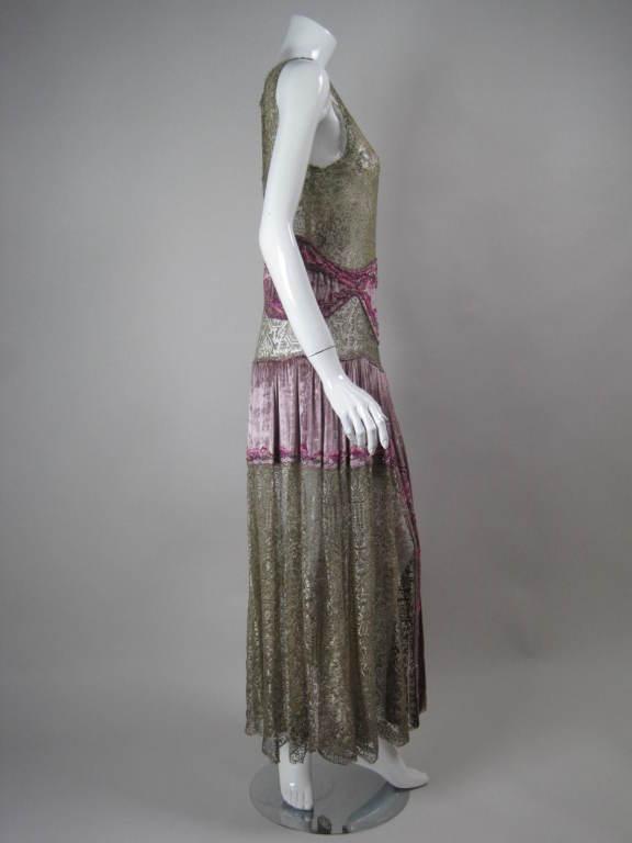 1920's Beaded Velvet & Metallic Lace Dress 3
