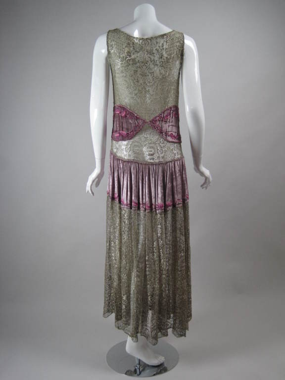 1920's Beaded Velvet & Metallic Lace Dress In Excellent Condition For Sale In Los Angeles, CA