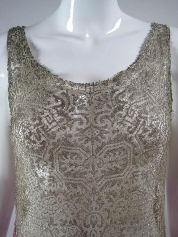 1920's Beaded Velvet & Metallic Lace Dress 5