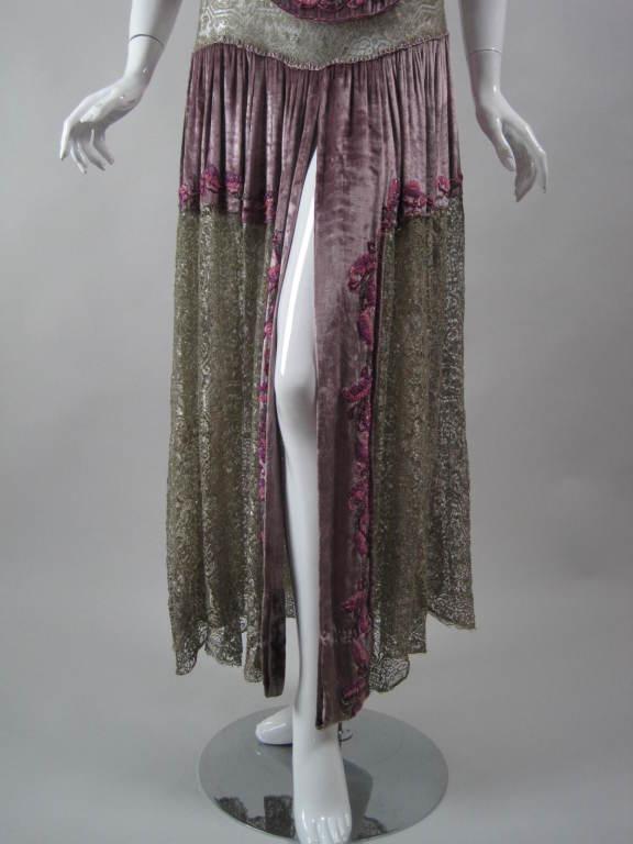 1920's Beaded Velvet & Metallic Lace Dress 6