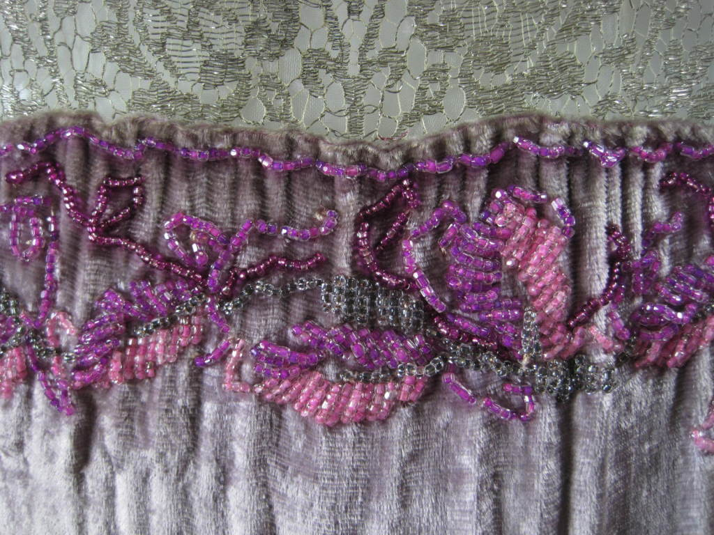 1920's Beaded Velvet & Metallic Lace Dress 8