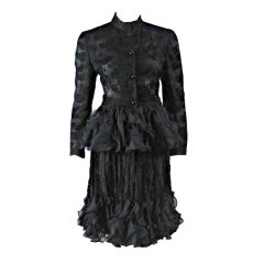 1980's Valentino Lace Ensemble with Ruffled Peplum