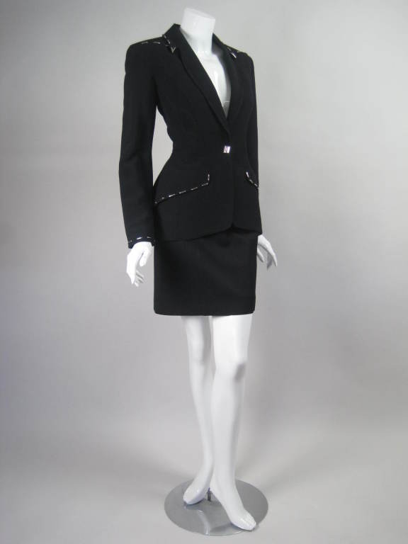 Black Thierry Mugler Skirt Suit with Metal Studded Details For Sale