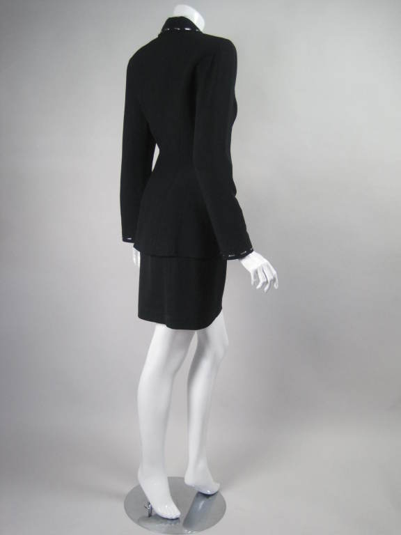 Thierry Mugler Skirt Suit with Metal Studded Details In Excellent Condition For Sale In Los Angeles, CA