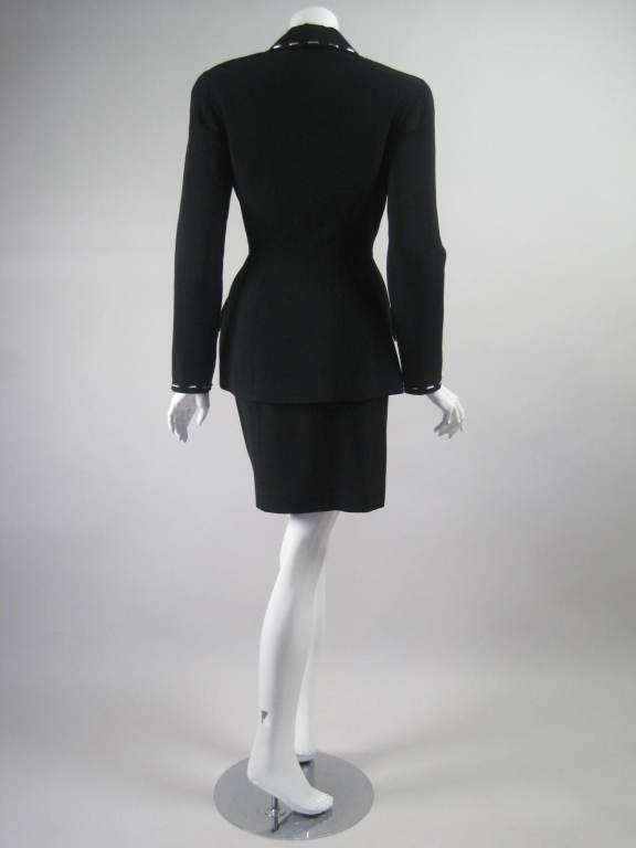 Women's Thierry Mugler Skirt Suit with Metal Studded Details For Sale