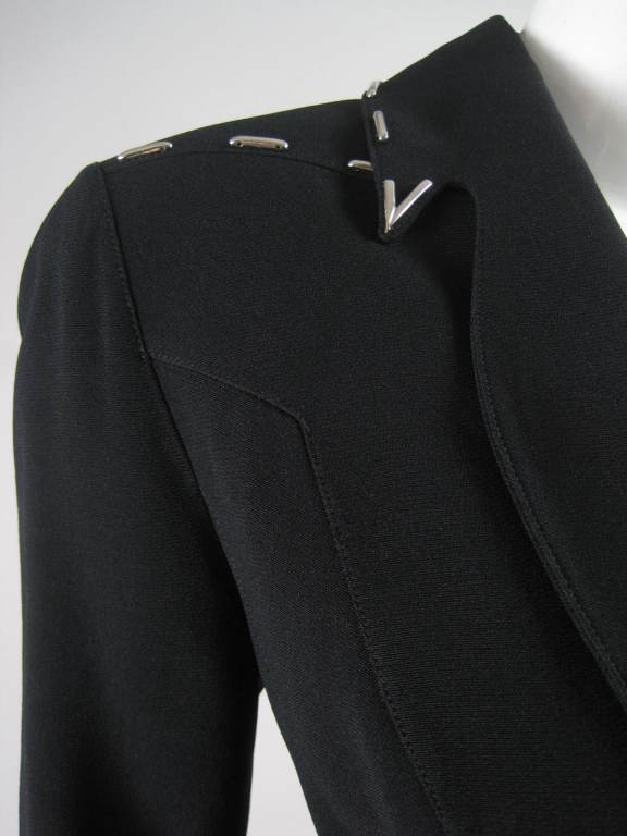 Thierry Mugler Skirt Suit with Metal Studded Details For Sale 1