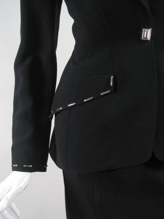 Thierry Mugler Skirt Suit with Metal Studded Details 7