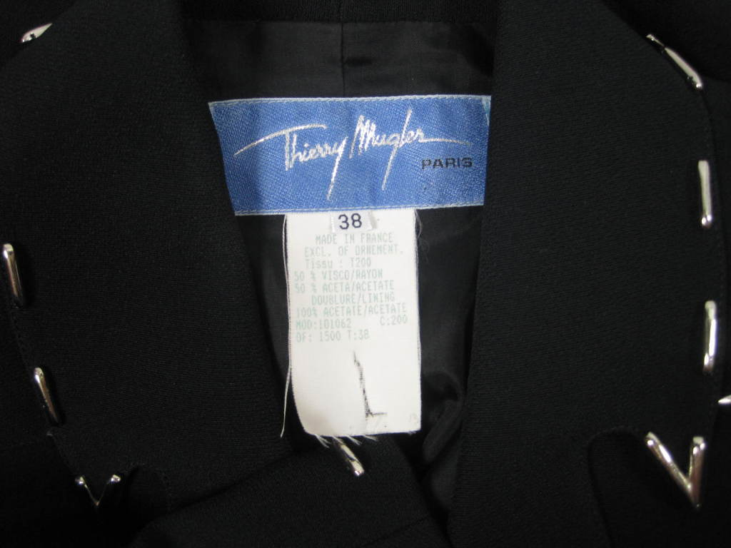 Thierry Mugler Skirt Suit with Metal Studded Details For Sale 3