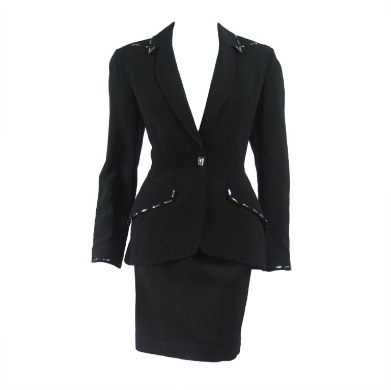 Thierry Mugler Skirt Suit with Metal Studded Details