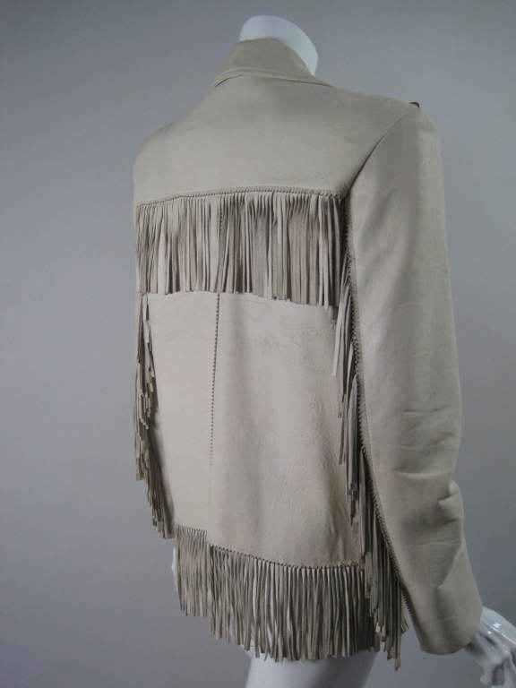Gray 1940's Deerskin Fringed Jacket with Beadwork For Sale
