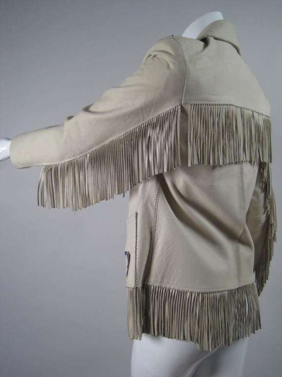 Women's 1940's Deerskin Fringed Jacket with Beadwork For Sale