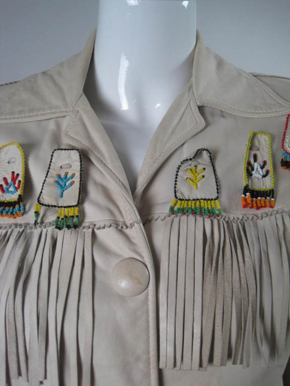 1940's Deerskin Fringed Jacket with Beadwork For Sale 1