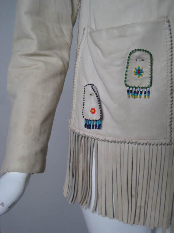 1940's Deerskin Fringed Jacket with Beadwork For Sale 3