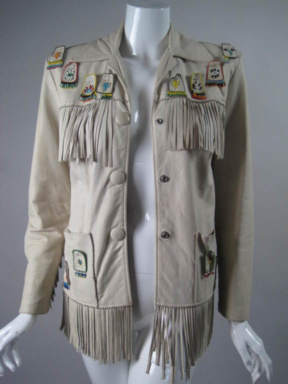1940's Deerskin Fringed Jacket with Beadwork For Sale 4