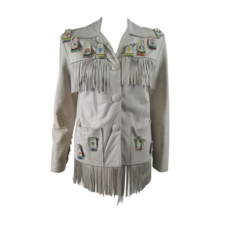 1940's Deerskin Fringed Jacket with Beadwork For Sale