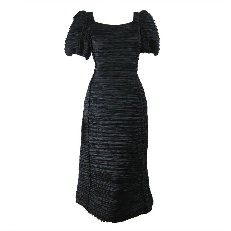 Mary McFadden Black Pleated Cocktail Dress
