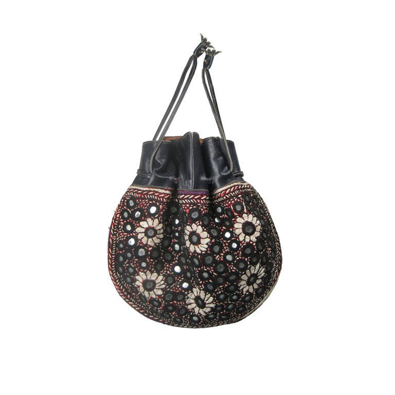 embroidered indian purse with shisha mirrors at 1stdibs