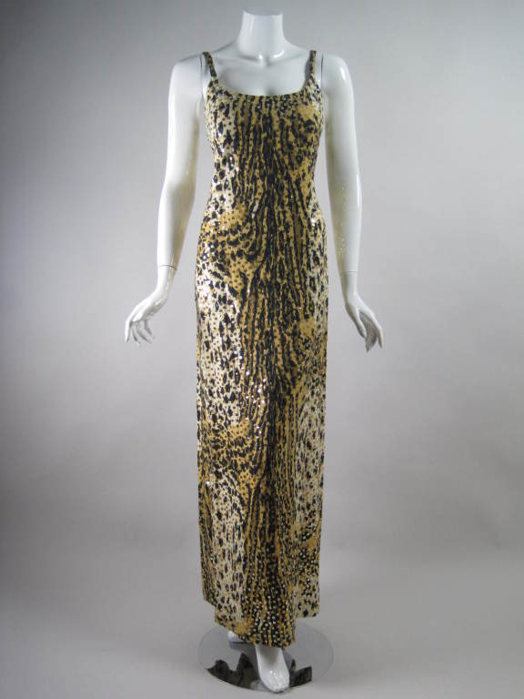 1970's Mollie Parnis Sequined Leopard Print Gown and Jacket 2