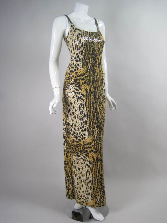 1970's Mollie Parnis Sequined Leopard Print Gown and Jacket 3