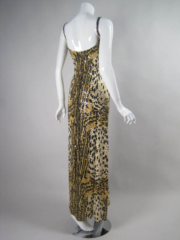 1970's Mollie Parnis Sequined Leopard Print Gown and Jacket 4