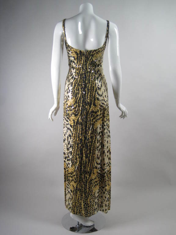 1970's Mollie Parnis Sequined Leopard Print Gown and Jacket 5