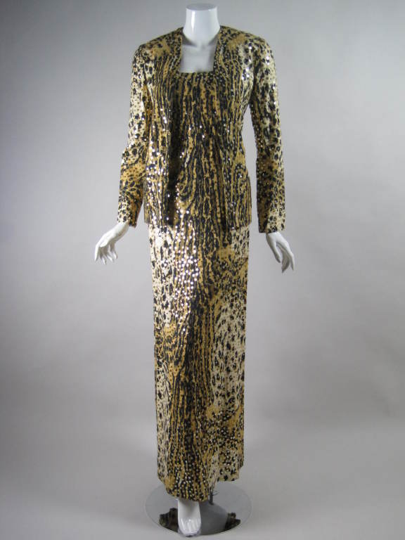 1970's Mollie Parnis Sequined Leopard Print Gown and Jacket 7