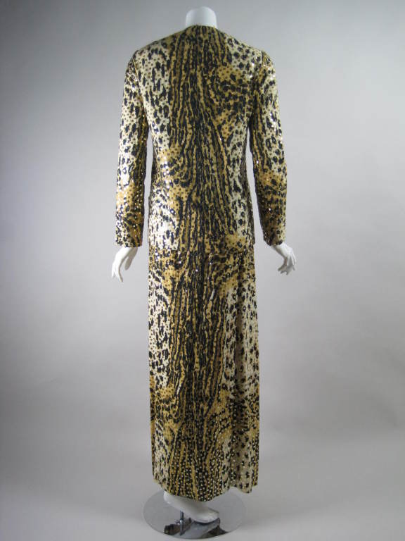 1970's Mollie Parnis Sequined Leopard Print Gown and Jacket 8