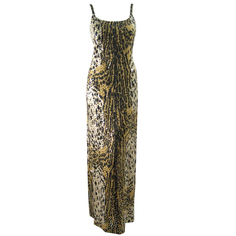 1970's Mollie Parnis Sequined Leopard Print Gown and Jacket 1